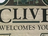Clive Welcome Sign