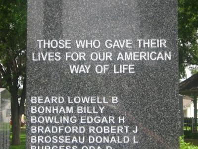Closeup Of  Veterans  Memorial In  Dalhart