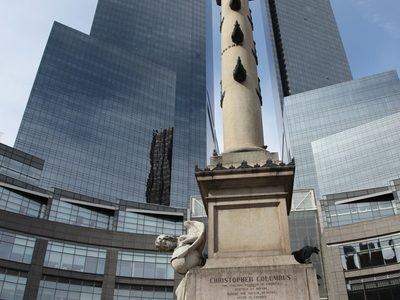The Statue Of Columbus In The Middle Of Columbus Circle
