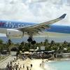 Corsairfly Airbus A330-200 On Short Final Over Maho Beach.