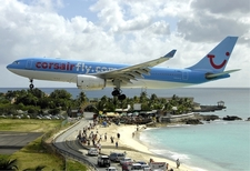 Corsairfly Airbus A330-200 On Short Final Over Maho Beach.