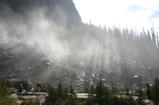 Crepuscular Rays Through Mist In Park