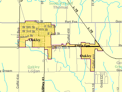 Detailed Map Of Oakley
