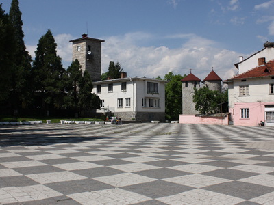 Dolna   Banya  Square  And  Clock  Tower