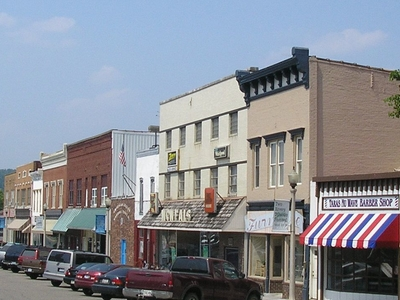Downtown Carrollton With Ohio River Valley In Background