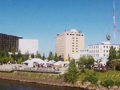 Downtown Fairbanks From The Chena River.