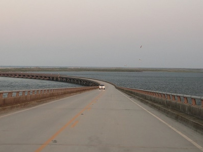 Driving Over Herbert C. Bonner Bridge NC Outer Banks