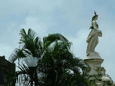 Roman Goddess Flora Statue Above Flora Fountain