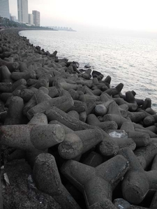 Concrete Boulders Used For Reclaiming Land At Marine Drive