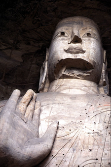 One Of The Larger Statues At Yungang