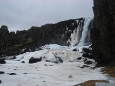 Öxarárfoss In Winter