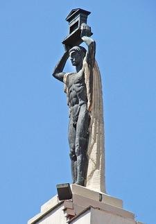 Edificio Del Ahorro Statue At Madrid Gran Via