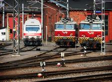 Locomotives At Turku Central Railway Station