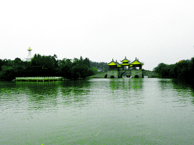 Five Pavillion Bridge And White Pagoda Yangzhou Landmark