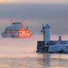 Ferry At Sunset In Moss - Norway