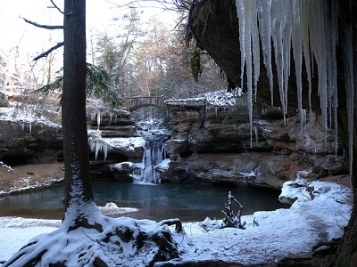 Frozen Upper Falls Near Old Man's Cave - Hocking Hills - Ohio