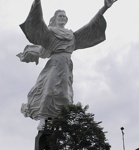Full View Of Christ Blessing Statue