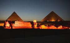 Giza Pyramid Complex At Night