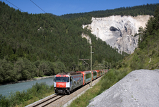 Two Glacier Expresses Coupled Together Run Through The Rhine Gorge