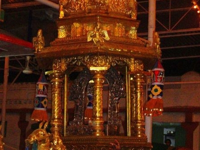 Gold Plated Chariot Pulled Around The Temple