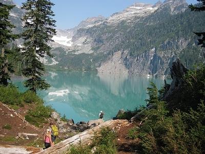Hikers At Blanca Lake WA