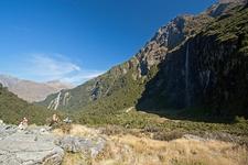 Hikers Exploring Mount Aspiring National Park NZ