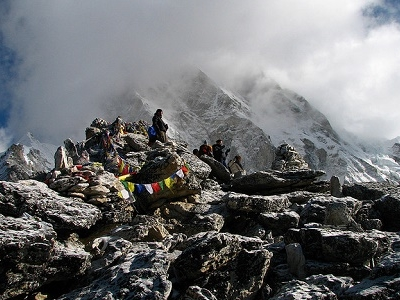 Hikers On Kala Patthar Peak