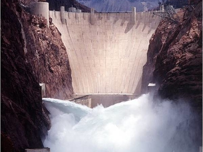 Hoover Dam Front Water