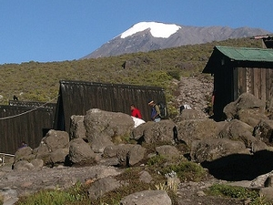 Horombo Huts With Kibo Peak In The Background