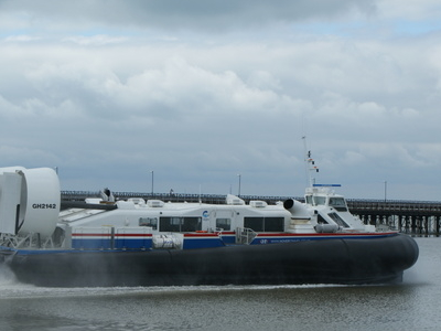 Hovercraft Leaving  Ryde