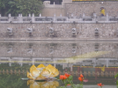 Huaqing Pool With Artificial Lotus