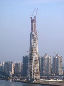 Hyperboloid Shuckhov Tower In Guangzhou During Construction