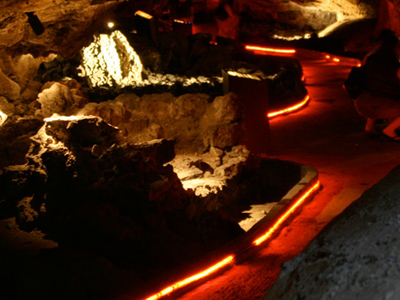 Illuminated Lava Tube Cave