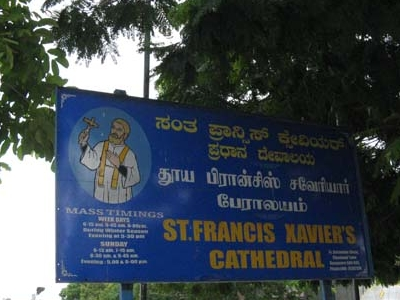 St. Francis Xavier Cathedral Bangalore Sign Board
