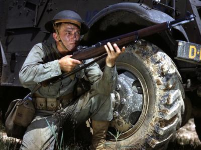 Infantryman In  1 9 4 2 With  M 1  Garand  2 C  Fort  Knox  2 C