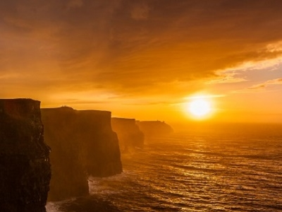Irish Cliffs Of Moher At Sunset