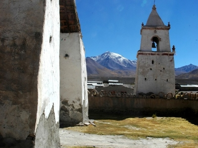 Isluga Church With Cabaray Volcano