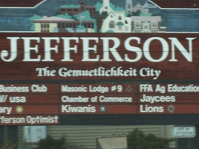 Jefferson Wisconsin Welcome Sign