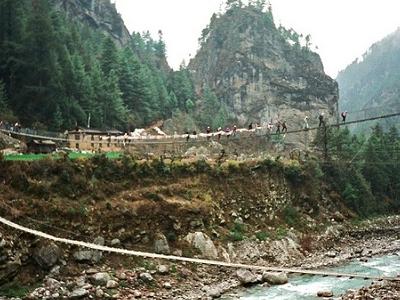 Jorsale Suspension Bridges Over Dudh Kosi River