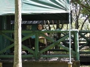 Kenya Budget Camping Safari Sitting On The Balcony Of The Camping Tent Kenya