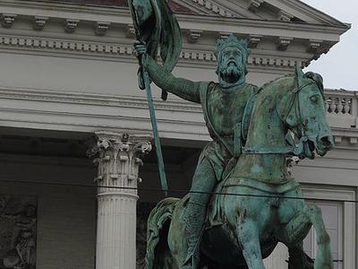 Closeup Of The Statue Of Godfrey Of Bouillon