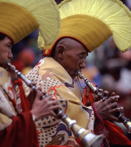 Ladakh Horn Players At Spituk Monastery