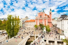 Ljubljana City Center With Triple Bridge