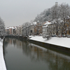 Ljubljanica River At Ljubljana Under Snow