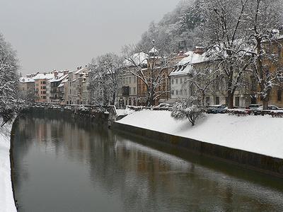 Ljubljanica River At Ljubljana Under Snow