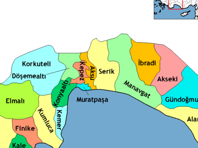 Location Of Belek Within Turkey.