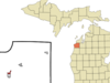 Location Of Beulah Within Benzie County Michigan