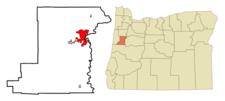 Location Of Corvallis Within Oregon.
