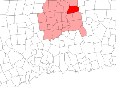 Location Of South Windsor Within Hartford County Connecticut.