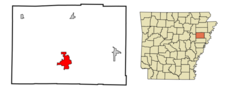 Location In Cross County And The State Of Arkansas